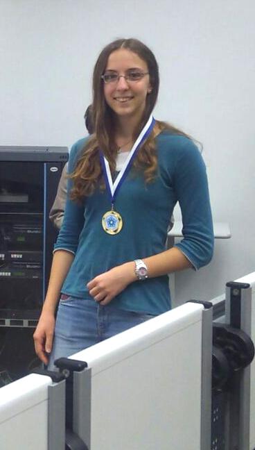 Sara Fustella il giorno della competizione nazionale a giochi matematici