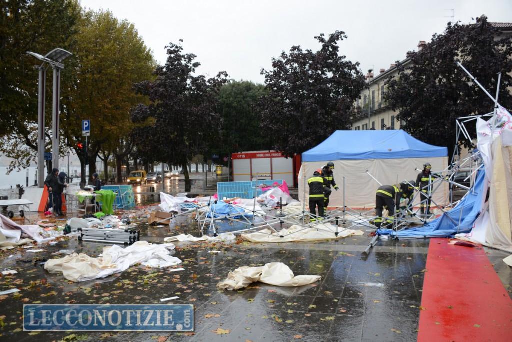 Nubifragio sulla città, Piazza Cermenati devastata, disagi anche in Valsassina