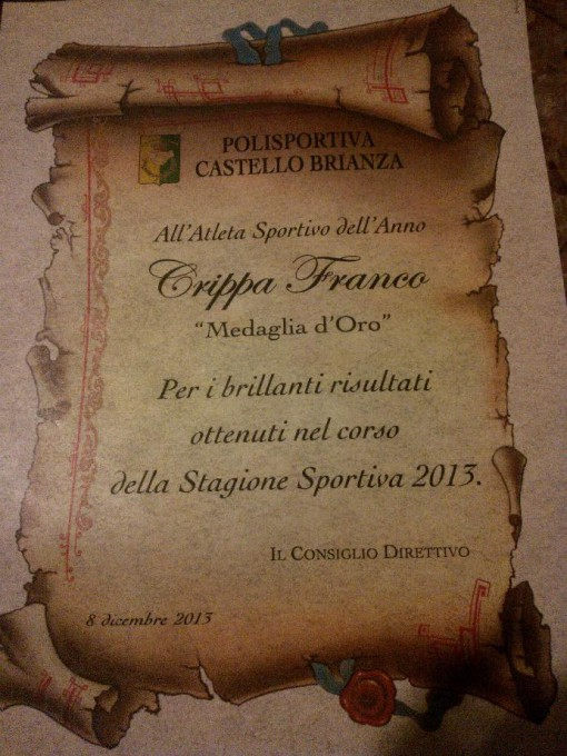 Franco Crippa premio atleta anno 2013