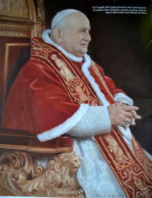 Il ritratto di Papa Giovanni XXIII eseguito dal pittore Ezio Moioli da Olcio.
