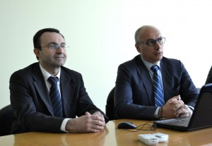 Fabrizio Pierpaoli e Daniele Riva durante la conferenza stampa in Confartigianato.
