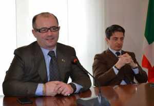 Giovanni Maggi (a sinistra) e Giulio Sirtori durante la conferenza stampa di mercoledì 25 marzo.