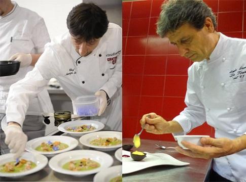 Sandro e Maurizio Serva. I due chef stellati cucineranno mercoledì 8 luglio a Villa Lario di Mandello.
