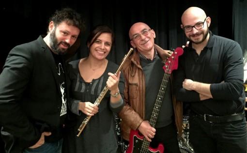 """I musicisti del """"Bolling Jazz Quartet"""". Da sinistra Michele Santomassimo, Emanuela Milani, Carlo Santomassimo e Silvio Centamore."""