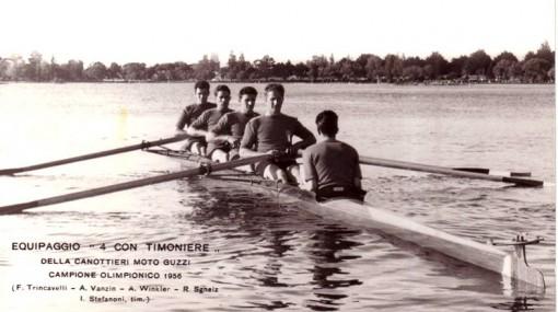"""Il """"quattro con"""" della Moto Guzzi che conquistò l'oro ai Giochi olimpici di Melbourne nel 1956."""