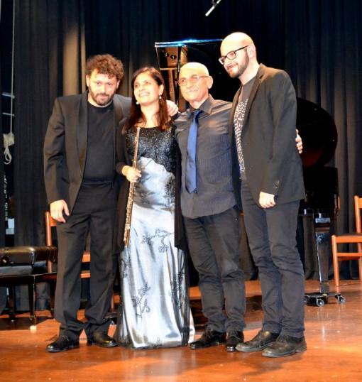 Da sinistra Michele Santomassimo, Emanuela Milani, Carlo Santomassimo e Silvio Centamore al termine del concerto.