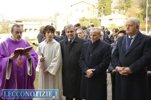 Da sinistra: Don Luca, Valentino Mainetti, Giovanni Mazzoleni e Giampaolo Palazzi