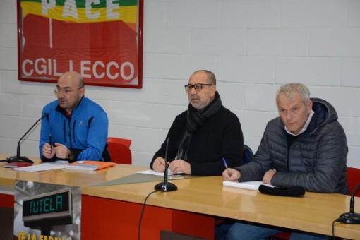 I sindacalisti Giuseppe Cantatore (Cgil), Ignazio Verduzzo (Cisl) e Gianluca Callina (Uil)
