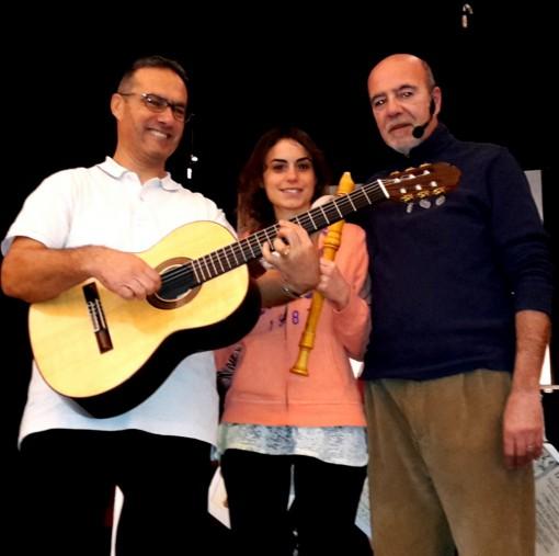 Da sinistra Giancarlo Scaccabarozzi, Cecilia Luce e Matteo Romico, protagonisti del recital teatrale-musicale di venerdì 19 febbraio a Mandello.