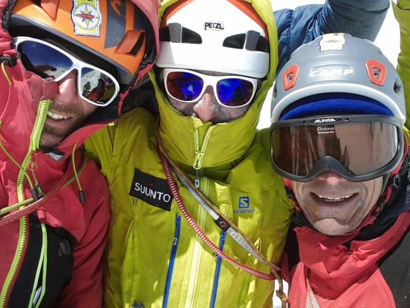 Giarletta, Panzeri, Lamantia Soccorso Alpino in vetta al Cerro Torre